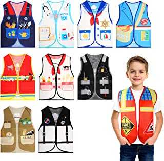 Geyoga 10 Pieces Kids Dress up Vest Career Costume Occupation Unisex Role Play Clothes for Pretend Play Party Supplies