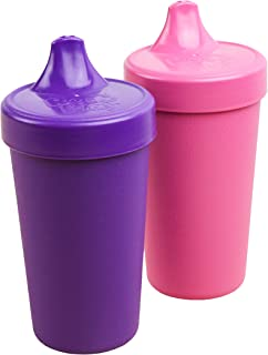 Re-Play Made in The USA 2pk No Spill Sippy Cups for Baby, Toddler, and Child Feeding - Amethyst/Bright Pink