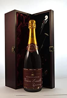 Veuve Emille Vintage Rose Champagne 1981 in a silk lined wooden box with four wine accessories, 1 x 750ml