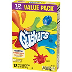 Gushers Variety Pack Fruit Gushers Fruit Flavored Snacks, Tropical Flavors Naturally Flavored, Straw