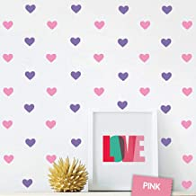 The Boho Design Hearts Wall Vinyl Decal Decor Nursery. Adhesive Heart Stickers for Kids. Baby Nordic Corazones Bedroom Decoration. (Pink and Purple)