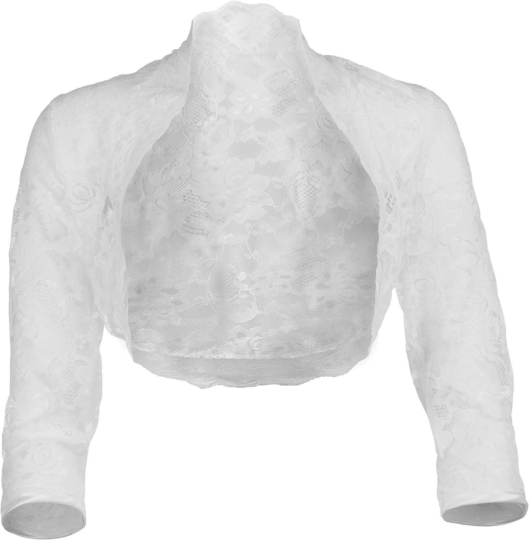 Grace & Flair Ladies White Lace Bolero ¾ Sleeve Sizes 6-28
