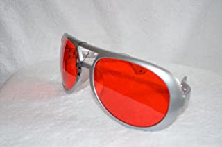 Elvis Jumbo Red Sunglasses with Silver Frame - Large Aviator Glasses