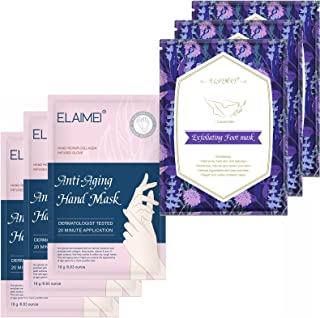 Foot Peel Mask 3 Packs and Moisturizing Hand Mask 3 Packs, Natural Lavender Extract,hand and feet masks Remove calluses Ma...