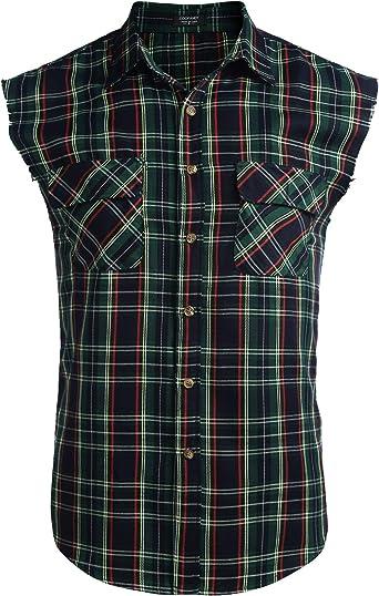 COOFANDY Camisa para hombre, sin mangas, a cuadros, ajustada, de algodón, fácil de planchar