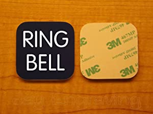 Engraved 2x2 RING BELL Self-Sticking Plate   Door Bell Name Tag Sign   Adhesive Back   Engraving Small Business Home Office Wall Door Plaque Doorbell Home Security Signs Sign Placard (Navy Blue)