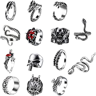 sailimue 14 Pcs Vintage Punk Rings for Men Women Cool Snake Tiger Dragon Skull Rings Adjustable Rings Set Gothic Jewelry