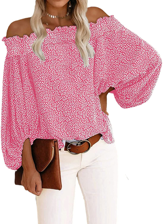 BLENCOT Women's 3 4 Ruffle Brand new Sleeve Off 67% OFF of fixed price Shoulder Chiffon Su Blouse