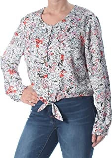 GUESS Women's Blouse Small Floral Print Button Tie Front