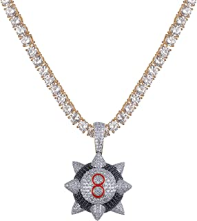 Mens 14K Gold Trippie Redd Inspired Spike 8-Ball Billiard Iced Out Pendant Necklace Chain