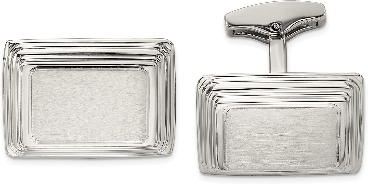 Stainless Steel Brushed and Polished Cufflinks