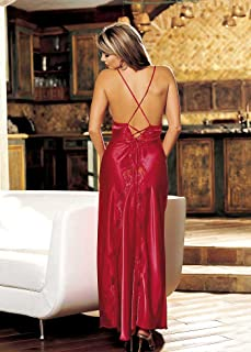 Shirley of Hollywood SOH-20300, Charmeuse and lace long gown. Red