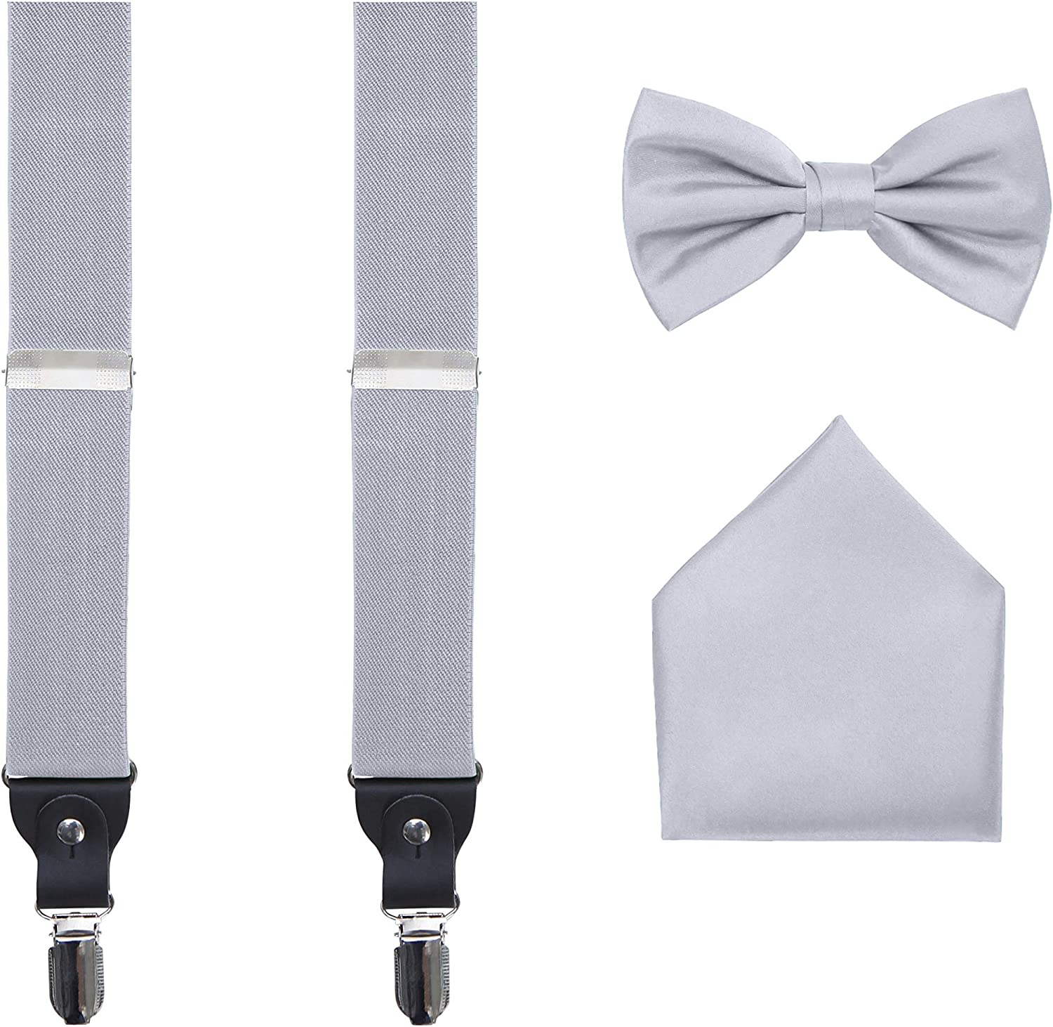Men's 3 Piece Suspender Set - Includes Suspenders, Matching Bow Tie, Pocket Hanky and Gift Box