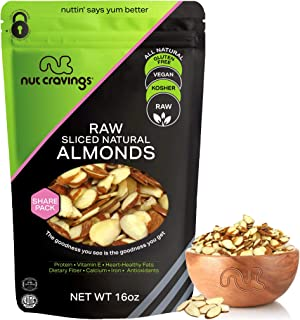 Natural Sliced Almonds - Raw, Superior to Organic (16oz - 1 Pound) Packed Fresh in Resealble Bag - Nut Trail Mix Snack - H...
