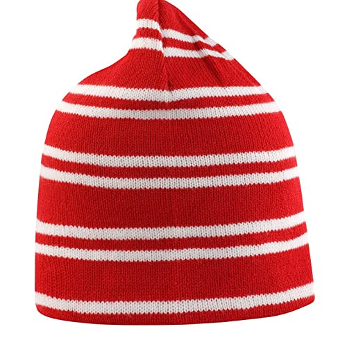 3b4d3c9d483 Result Team Colours Striped Reversible Unisex Beanie Hat (Red White)