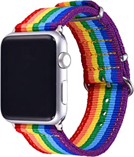 Bandmax Rainbow Wristband Compatible Apple Watch 42MM/44MM, iwatch Strap Comfortable Denim Fabric Replacement Band Accessories Mix Update apapter Clasp Compatible Apple Watch Series4/3/2/1