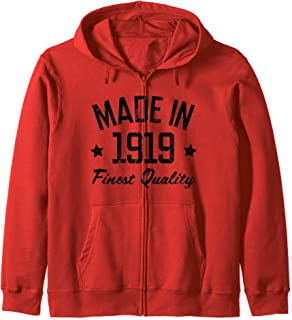 Made in 1919 Gift for 100 Year Old Man Woman Zip Hoodie