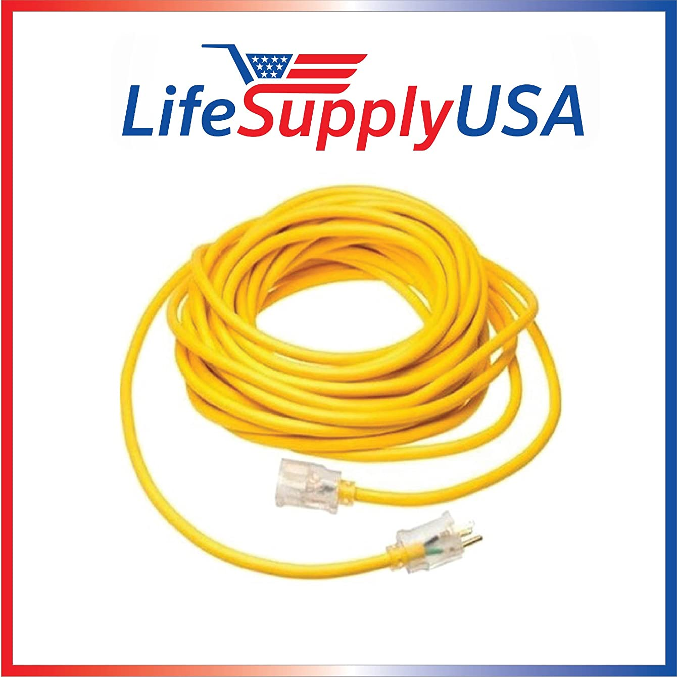 2 Pack - 10/3 100ft SJTW Lighted End Extension Cord, 15 Amp, 300 Volt, 1875 Watt, Super Heavy Duty Outdoor Jacket (100 feet) by LifeSupplyUSA