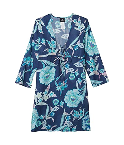 Echo New York Tropical Floral Tunic Dress (Navy) Women