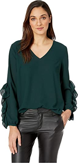 Long Sleeve V-Neck Ruffle Sleeve Blouse
