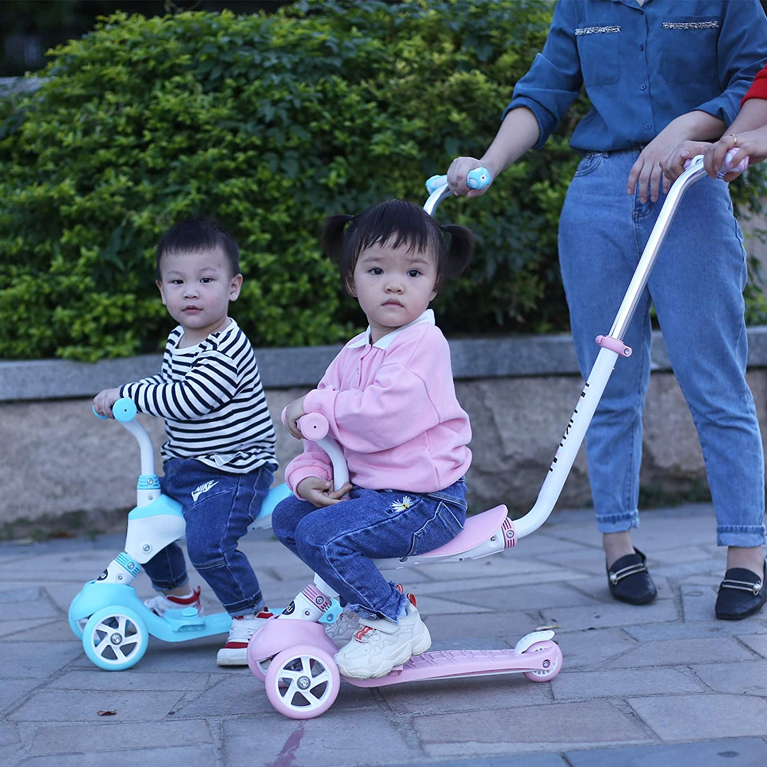 Sit or Stand Ride with Brake for Boys and Girls 3-in-1 Kick Scooter with Removable Seat and Handle LIKU 3-Wheeled Scooter for Kids