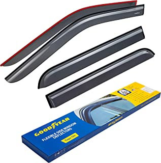 Goodyear Shatterproof Side Window Deflectors for Trucks Ford F-150 2015-2019 SuperCrew Cab, Tape-on Rain Guards, Window Visors, 4 Pieces – GY003112