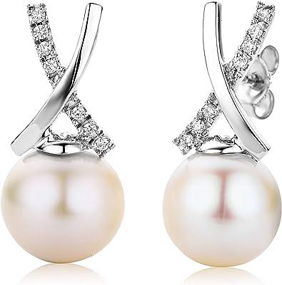 Miore Orecchini da donna in oro bianco/oro giallo 18 kt 750 con perle d'acqua dolce da 8.5-9.0 mm e diamanti a taglio brillante da 1,47 ct - 19 x 9 mm