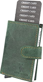 HIDE & SKIN Unisex Leather RFID Blocking Card Holder Cum Minimalistic Wallet (Battle Green)