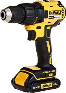 DEWALT 18V 13mm Compact Drill Driver,Brushless, 2 x 1.5Ah batteries, charger and kit box, Yellow/Black, DCD777S2-GB, 3 Yea...