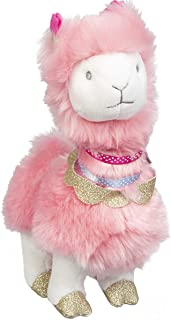 """FAO Schwarz 8"""" Llama Alpaca Plush Stuffed Animal in Pink with Ultra Plush Fur and Glitter Gold Hooves, Soft and Snuggly Doll"""