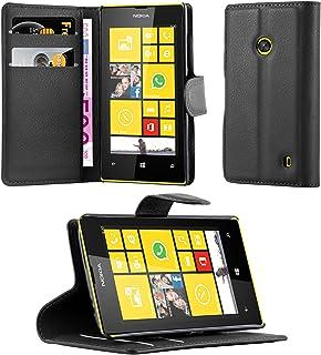 Cadorabo Fodral kompatibelt med Nokia Lumia 520 i FANTOM SVART - Skyddsfodral med Magnetfäste, Stativfunktion och Kortplat...