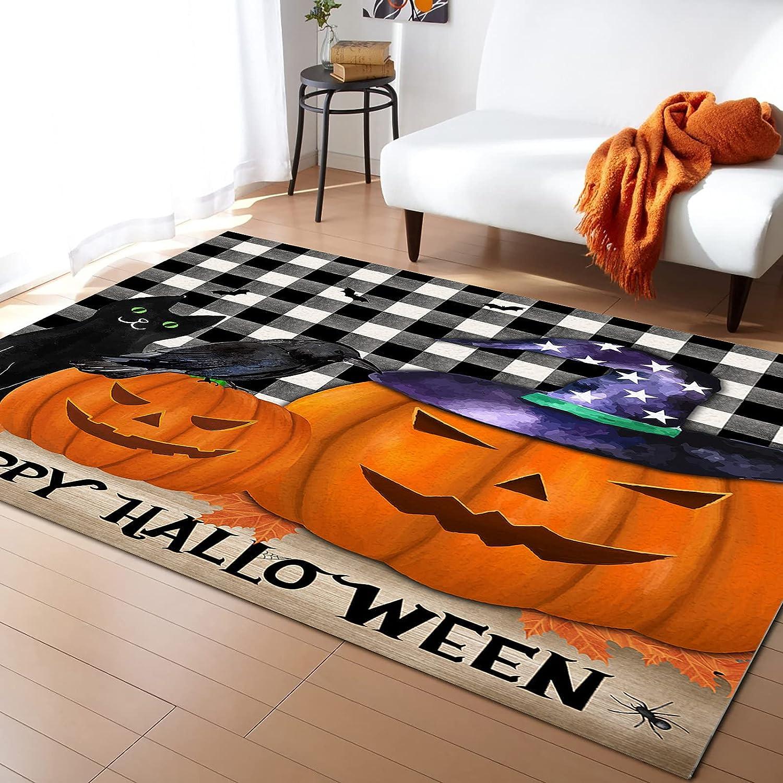 5x7 Trust Sale price Feet Floor Mat Area Rug Cat and Cro Halloween Happy Pumpkin