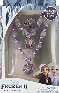 Luv Her Frozen 2 Girls 3 Piece Princess Costume Toy Jewelry Box Set with Purple Bead Necklace, Bracelet and Ring