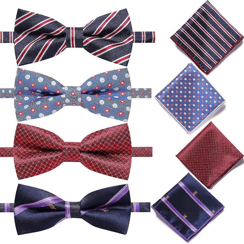 AUSKY 4 Sets Elegant Adjustable Pre-Tied Bow Tie Pocket Square Handkerchief set for Men Boys