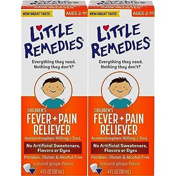 Little Remedies  Children's Fever & Pain Reliever | Grape  | 4 FL OZ | 2 Pack