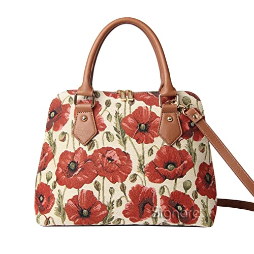 Signare Women s Red and White Tapestry Top Handle Handbag with Detachable  Strap to Convert to Shoulder 48b826aaa377e
