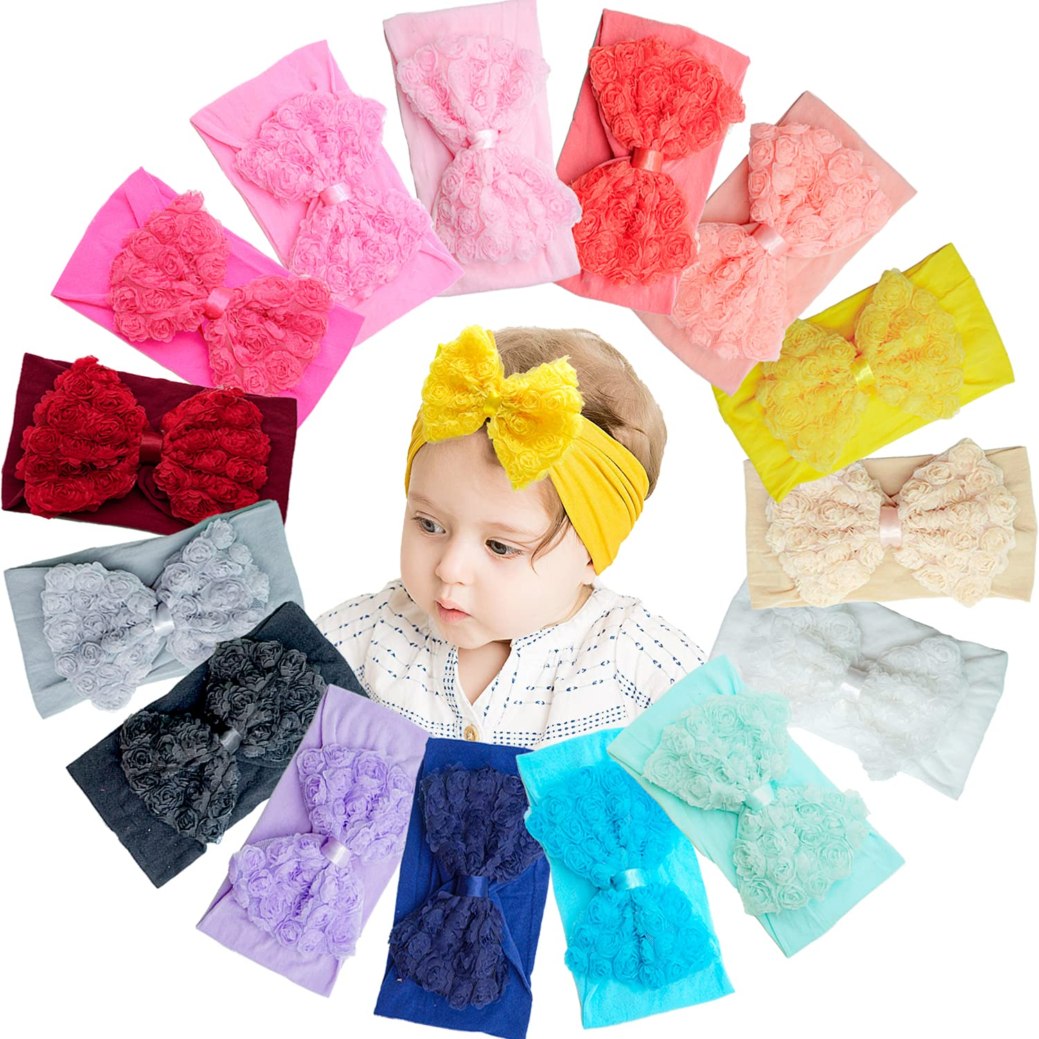 15 Pieces Baby Grils Headbands Creative Hair Bows Soft Stretchy Hair Band Headbands for Baby Girls Newborns Infants Toddlers