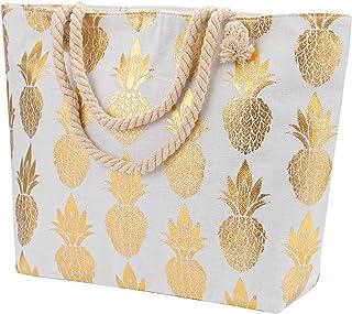 Large Women Canvas Tote Beach Bag Pineapple Print Inner Zipper Pocket Travel