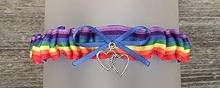 SEXY Royal Blue Rainbow Wedding Tossing Demi Bridal Garter - Double heart Charm