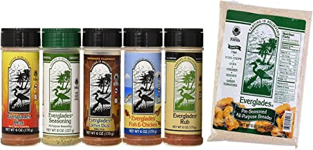 Everglades Seasoning Sampler + Breader Cactus Dust Heat Fish and Chicken Rub Bottles for All Purpose, 6 oz. and 8 oz