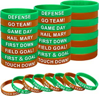 48 Pieces Ball Silicone Motivation Bracelets Multicolored Rubber Bracelets Silicone Stretch Wristbands for Ball Theme Party (Football Style)