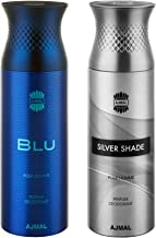 Ajmal Blu and Silver Shade Deodorants for Men -Pack of 2 with 2 Testers