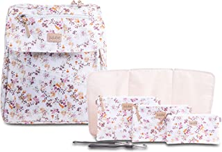 JuJuBe Diaper Bag Backpack + Messenger Bag | 4-in-1 Core Convertible Bundle | Durable, Stylish, Travel Friendly, Multi Functional, Insulated Bottle Pockets + Changing Pad Included | Petal Perfection