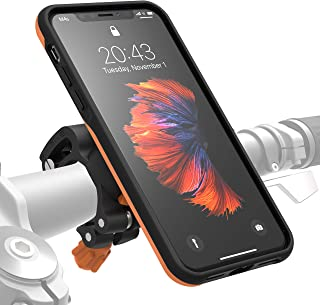 MORPHEUS LABS M4s iPhone Xs Bike Mount, Phone Holder & iPhone X Case, Bicycle Cell Phone Holder, Adjustable, fits to Most Bike Handlebars, with Quick Lock, Magnetic for iPhone X/Xs / 10 [Orange]