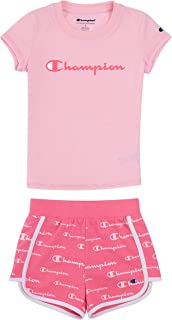Champion Heritage Little Girls 2-6X Short Sets Mesh and French Terry Shorts (4, Pink Candy/Razzle Pink French Terry Short)
