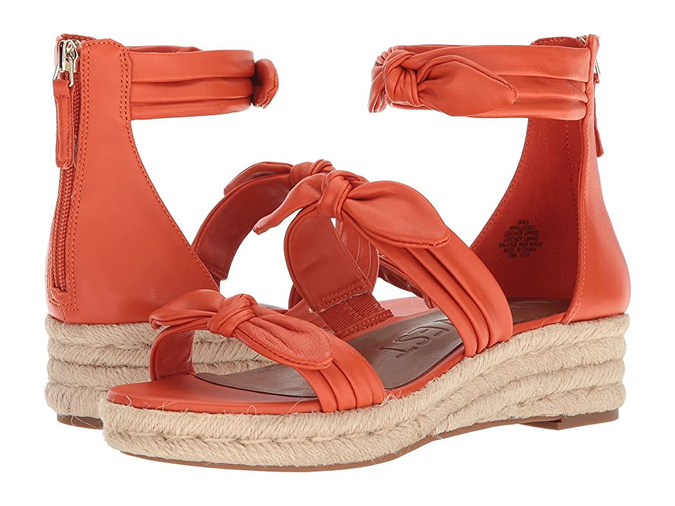 Nine West Allegro Espadrille Wedge Sandal (Orange Leather) Women
