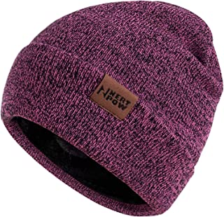 Nertpow Winter Daily Beanie Hat for Men Women, Warm Fleece Lined Thermal Trendy Thick Knit Skull Cable Cuff Cap