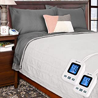 SimplyWarm Electric Heated Polar Fleece Blanket with Sensor-Safe Overheat Technology – New for 2018 HIGH TEC Digital Controller (Light Grey, Queen w/Dual Controllers)