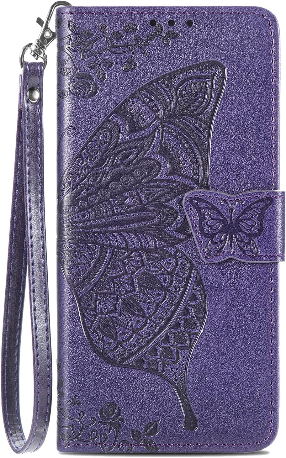 Galaxy A12 Wallet Case, [Butterfly & Flower Embossed] Leather Wallet Case Flip Protective Phone Cover with Card Slots and Kickstand for Samsung Galaxy A12 6.5-inch (Purple)