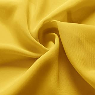 Alicepub Solid Color Sheer Chiffon Fabric by The Yard for Draping and Dresses,Wedding Decoration, DIY Decoration,Mustard Yellow